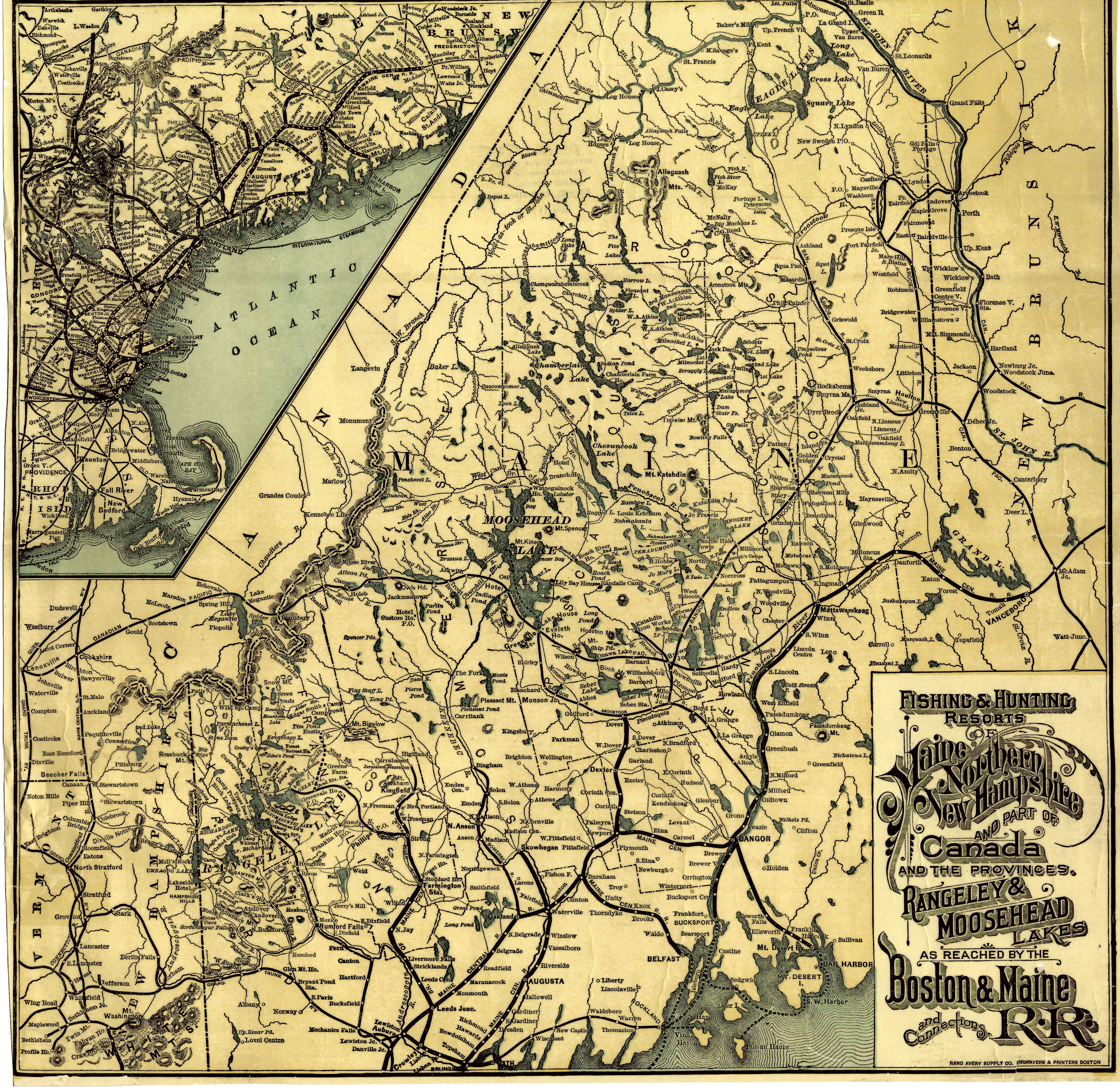 Old Maine Map.Maps Old Tales Of The Maine Woods